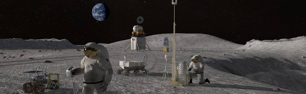 working on the moon